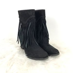 Breckelle's Black Faux Suede Fringe Zip-up Booties